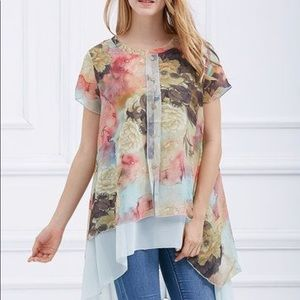 Simply Couture Floral Short Sleeve Tunic Size M